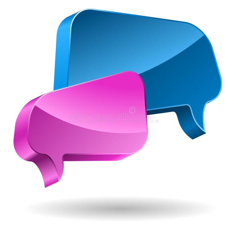 Pink and blue speech bubbles stock illustration