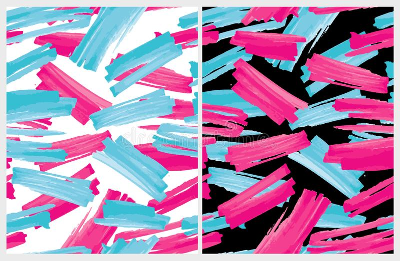 Funny Abstract Paintbrush Lines Vector Pattern.  Expressive Vivid Pink and Blue Smudges. Pink and Blue Stripes on a White and Black Backgrounds. Chaotically royalty free illustration