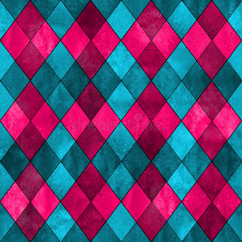 Pink and blue teal argyle seamless plaid pattern. Watercolor hand drawn texture background. Watercolour rhombus shapes background. Print for cloth design vector illustration