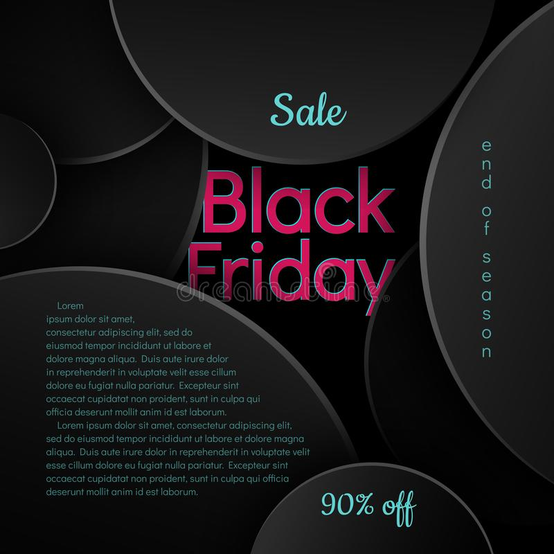 Black Friday Sale 90% off text pink and blue on a black background pattern of circles Creative design element for banner poster stock illustration