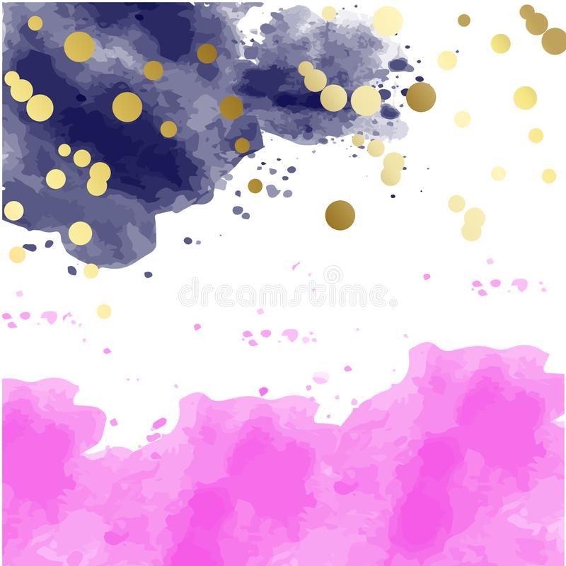 Pink watercolor blots pattern top abstract frame royalty free illustration
