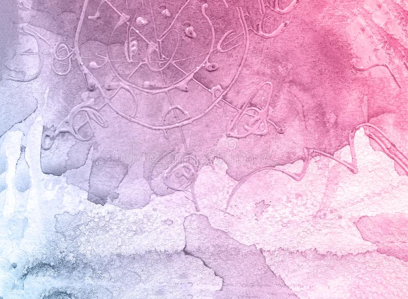 Pink and blue creative flower watercolor texture background, beautiful creative planet. royalty free stock images