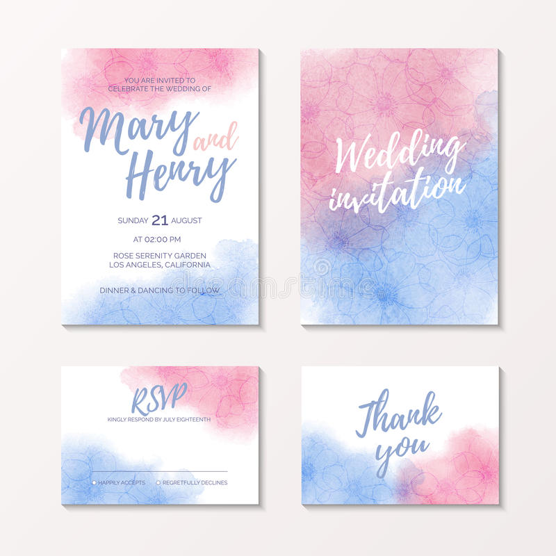 Pink and blue watercolour bridal template. Watercolor wedding invitation of color 2016 Rose Quartz and Serenity with flower anemone, pink and blue watercolour vector illustration