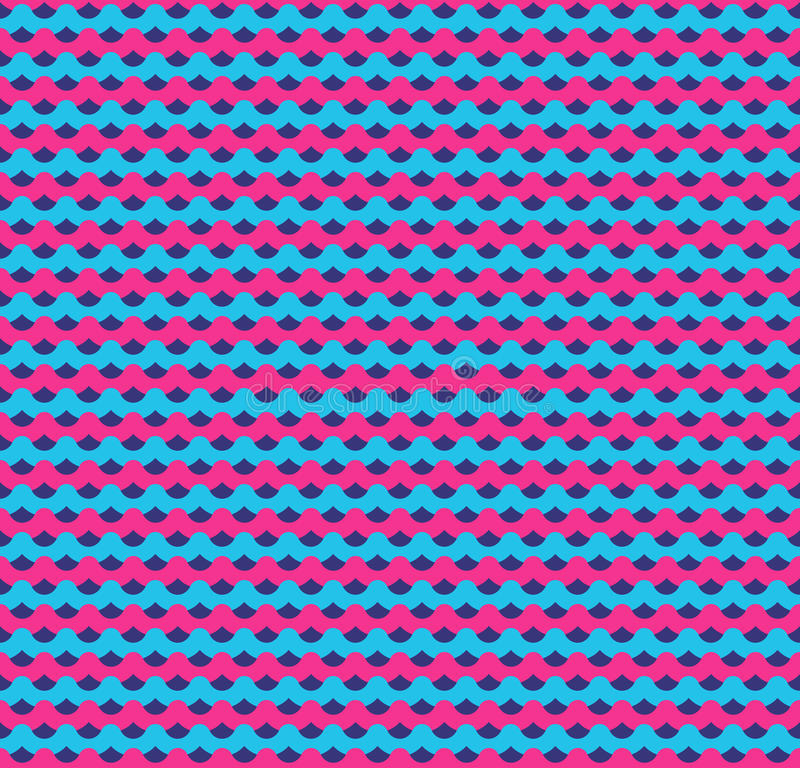 Pink and blue waves seamless background. Decoration wave texture and abstract design pattern. Vector illustration royalty free illustration