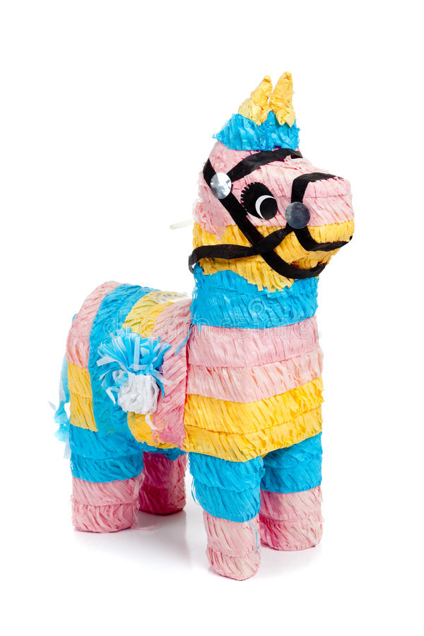 Pink, blue and yellow burro pinata on white stock images