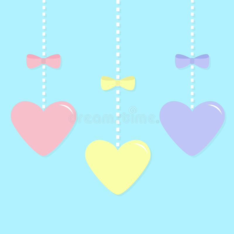 Pink Blue Yellow Paper Hearts Hanging On Dash Line Bow Happy