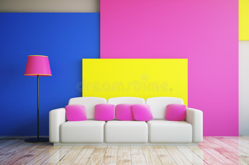 Pink, blue and yellow room stock illustration. Illustration of ...