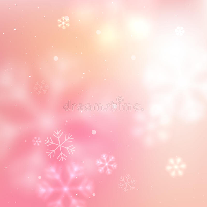 Pink blurred snowflakes background royalty free illustration