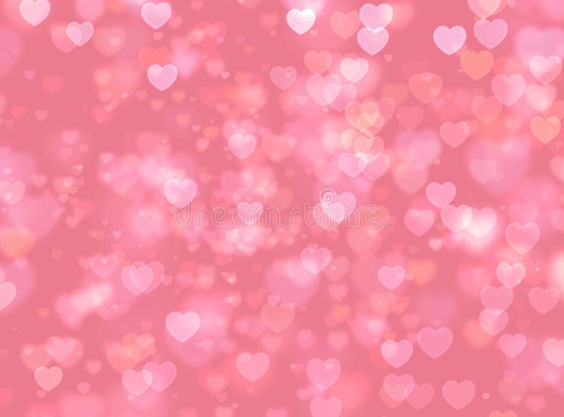 Pink  bokeh hearts on blurred background. royalty free stock photos