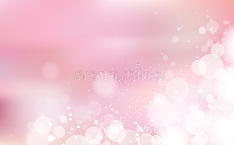Pink Bokeh pastel romantic, celebration festival with stars scatter light shining concept, confetti falling, snow and dust, vector illustration