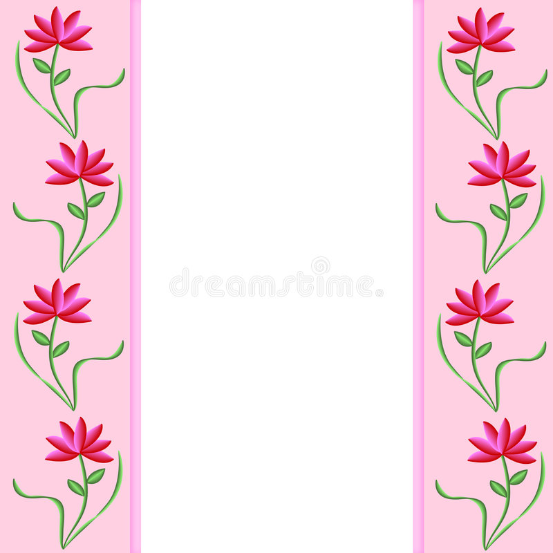 Pink Borders With Flowers Stock Photo