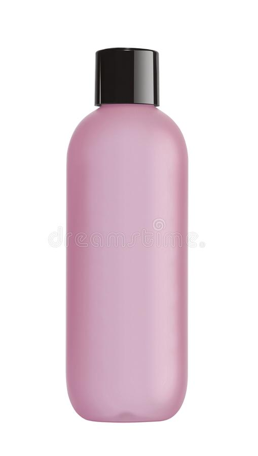 Pink bottle cosmetic packaging of toner isolated on white. Background royalty free stock photos