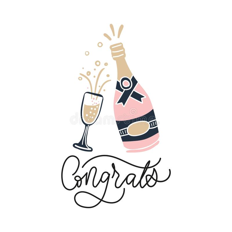 Free Pink Bottle Of Champagne And Glass Filled With Liquid Stock Image - 173095841
