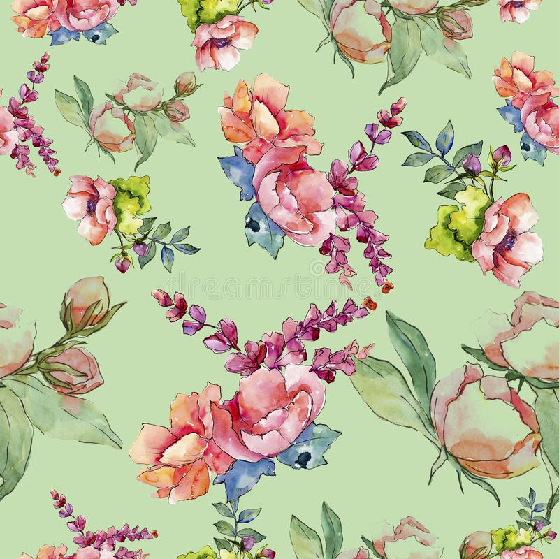 Pink bouquet wildflower. Seamless background pattern. Fabric wallpaper print texture. vector illustration