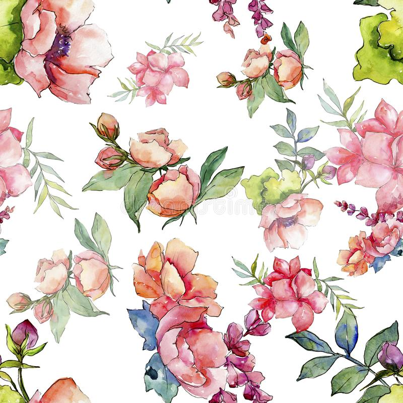 Pink bouquet wildflower. Seamless background pattern. Fabric wallpaper print texture. stock illustration