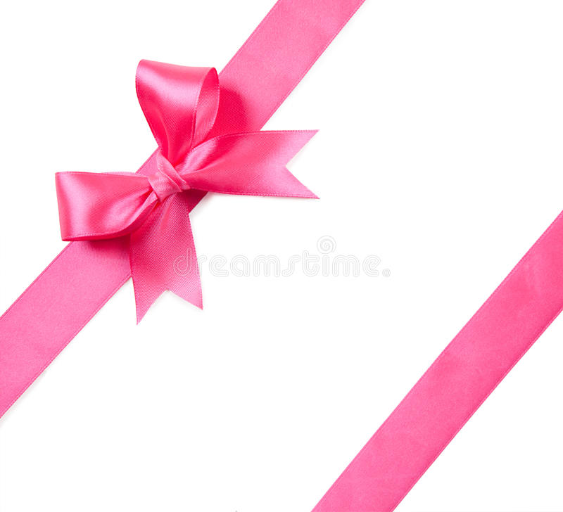 Pink bow isolated on white royalty free stock photos