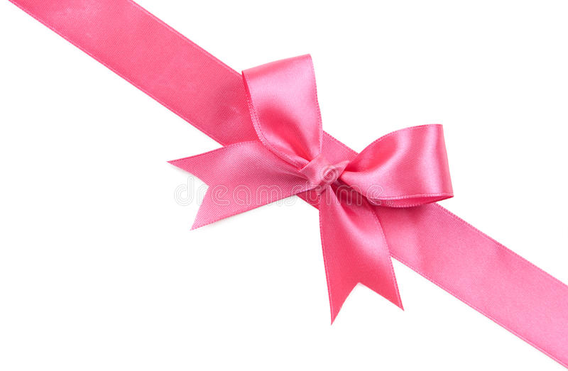 Pink bow isolated on white stock photography