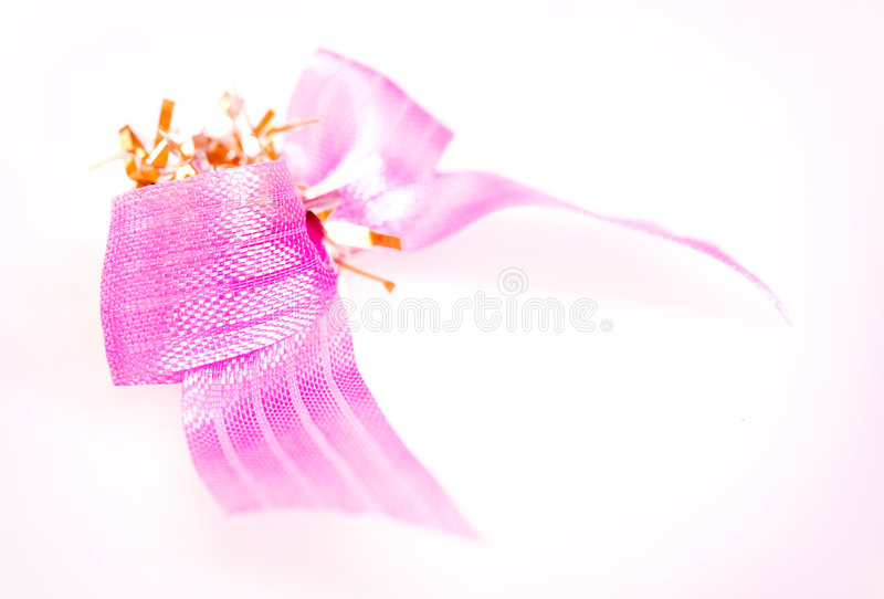 Pink bow isolated on white royalty free stock images