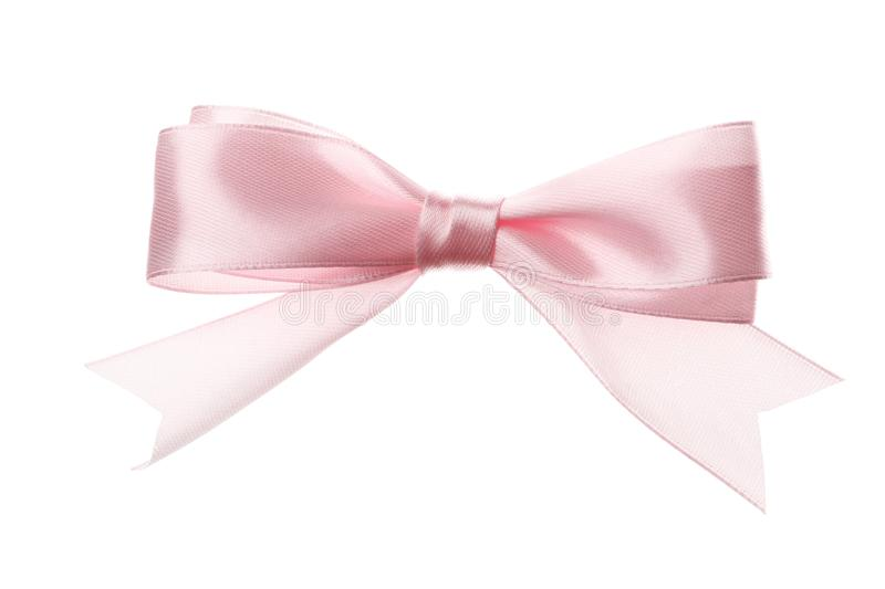 Pink bow isolated on white background stock photography