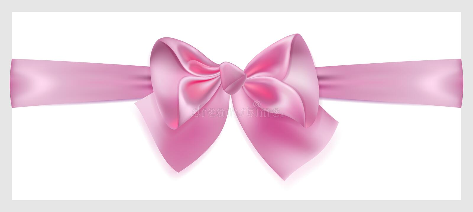 Pink bow with ribbon, located horizontally royalty free illustration