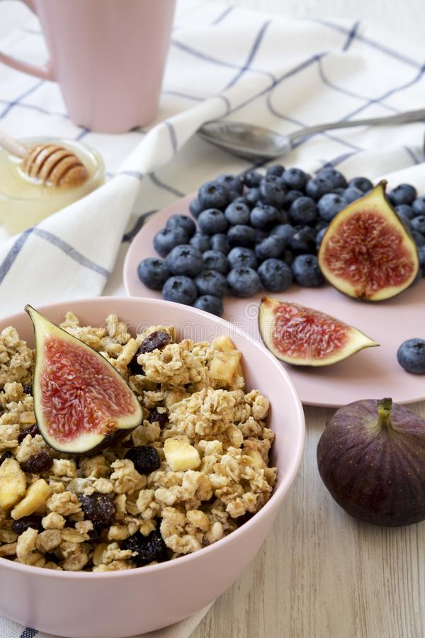 Pink bowl of fruit granola with fruits and honey, low angle view. Closeup.  royalty free stock photo