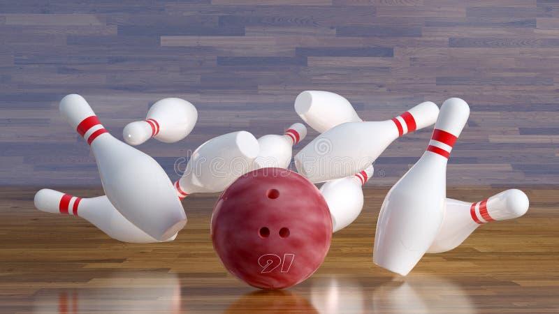 Bowling ball number 16 smashing pins royalty free stock image