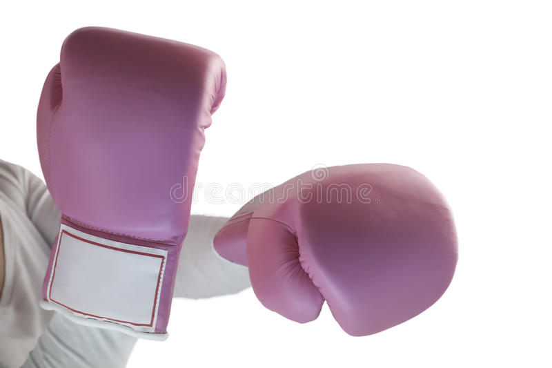 Pink box gloves. Over a white background royalty free stock images