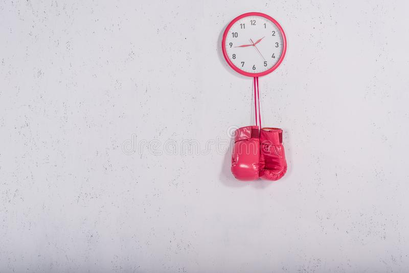 Pink boxing gloves hanging at wall clock. On white royalty free stock photography