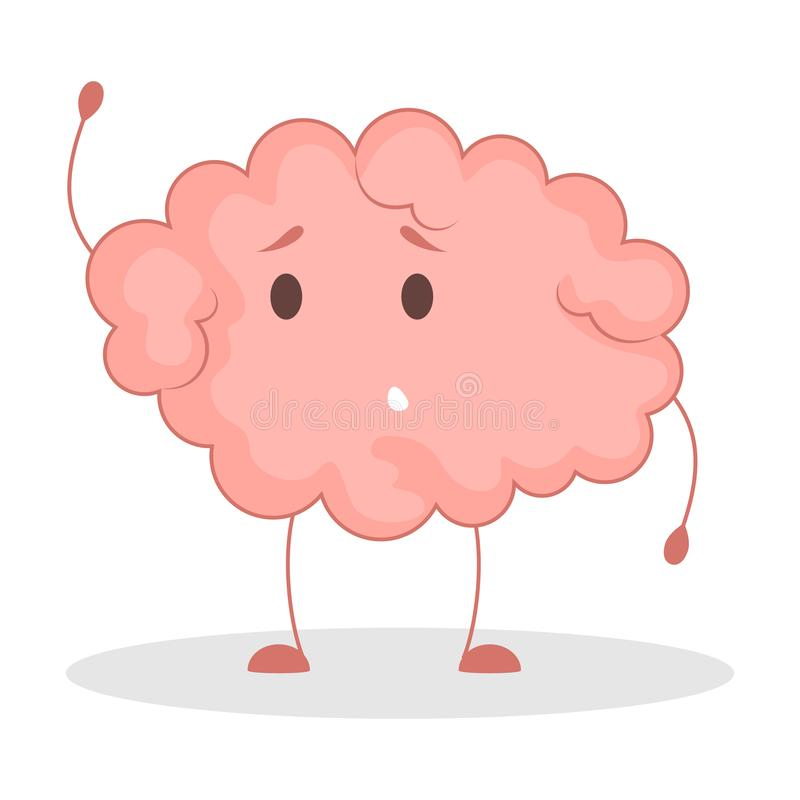 Pink brain character, happy sticker. Cute funny human organ. Bright comic element. Isolated vector illustration in flat style vector illustration