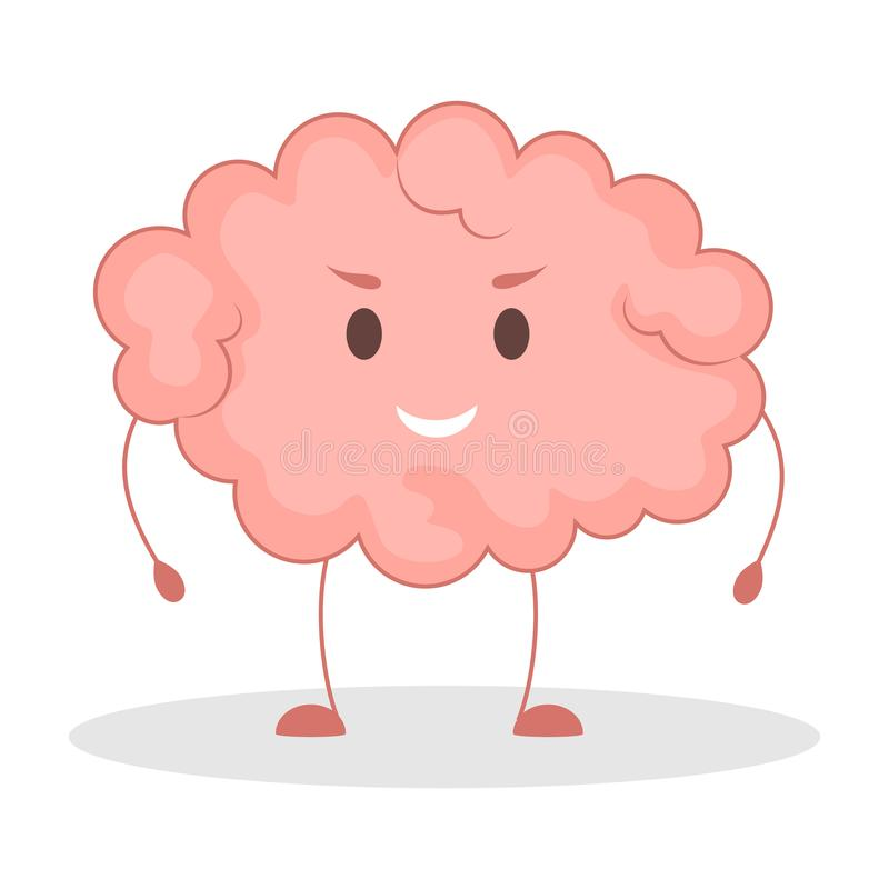 Pink brain character, happy sticker. Cute funny human organ. Bright comic element. Isolated vector illustration in flat style royalty free illustration