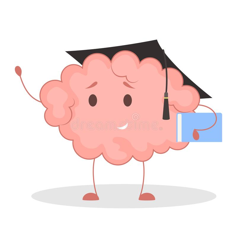 Pink brain character, happy sticker. Cute funny human organ. Bright comic element. Isolated vector illustration in flat style stock illustration