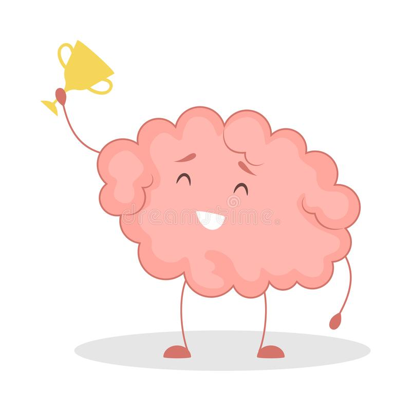 Pink brain character, happy sticker. Cute funny human organ. Pink brain character, happy sticker win. Cute funny human organ. Bright comic element. Isolated stock illustration