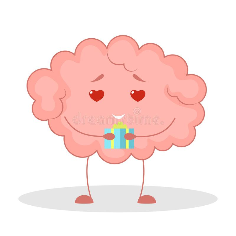 Pink brain character, happy sticker. Cute funny human organ. Pink brain character in love, happy sticker. Cute funny human organ. Bright comic element. Isolated vector illustration