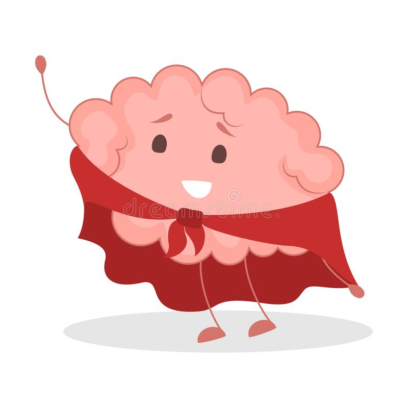 Pink brain character, happy sticker. Cute funny human organ. Pink brain character in red cape, happy sticker. Cute funny human organ. Bright comic element stock illustration