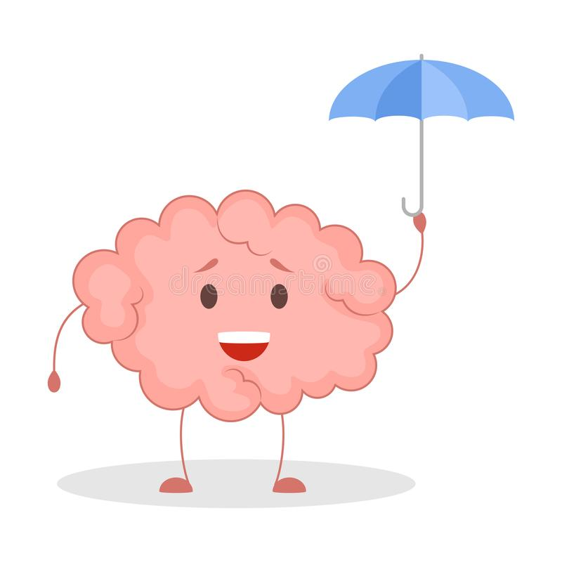 Pink brain character, happy sticker. Cute funny human organ. Pink brain character under umbrella, happy sticker. Cute funny human organ. Bright comic element royalty free illustration