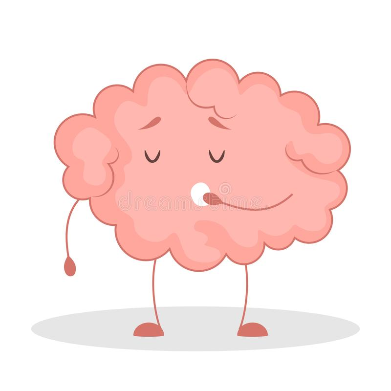 Pink brain character, happy sticker. Cute funny human organ. Pink brain character yawning, happy sticker. Cute funny human organ. Bright comic element. Isolated royalty free illustration