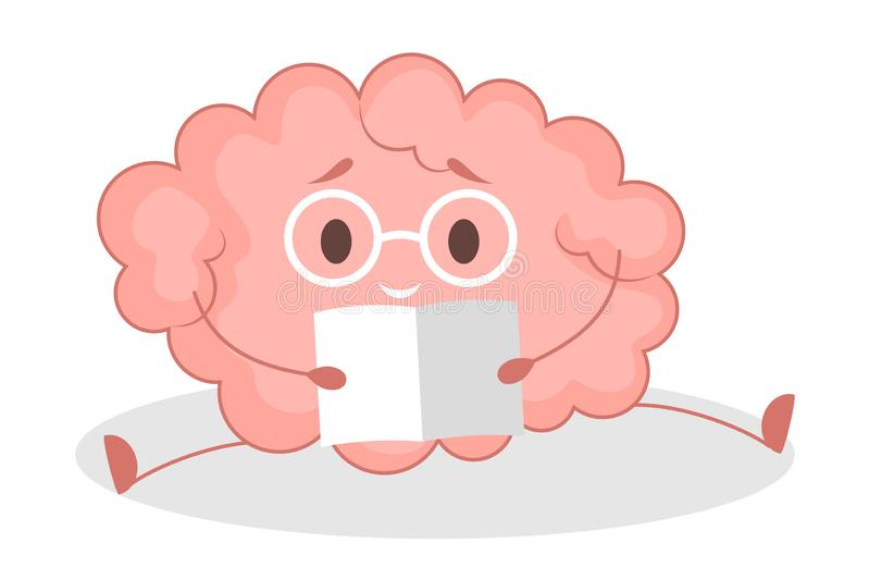 Pink brain character, happy sticker. Cute funny human organ. Pink brain character, happy sticker reading. Cute funny human organ. Bright comic element. Isolated royalty free illustration