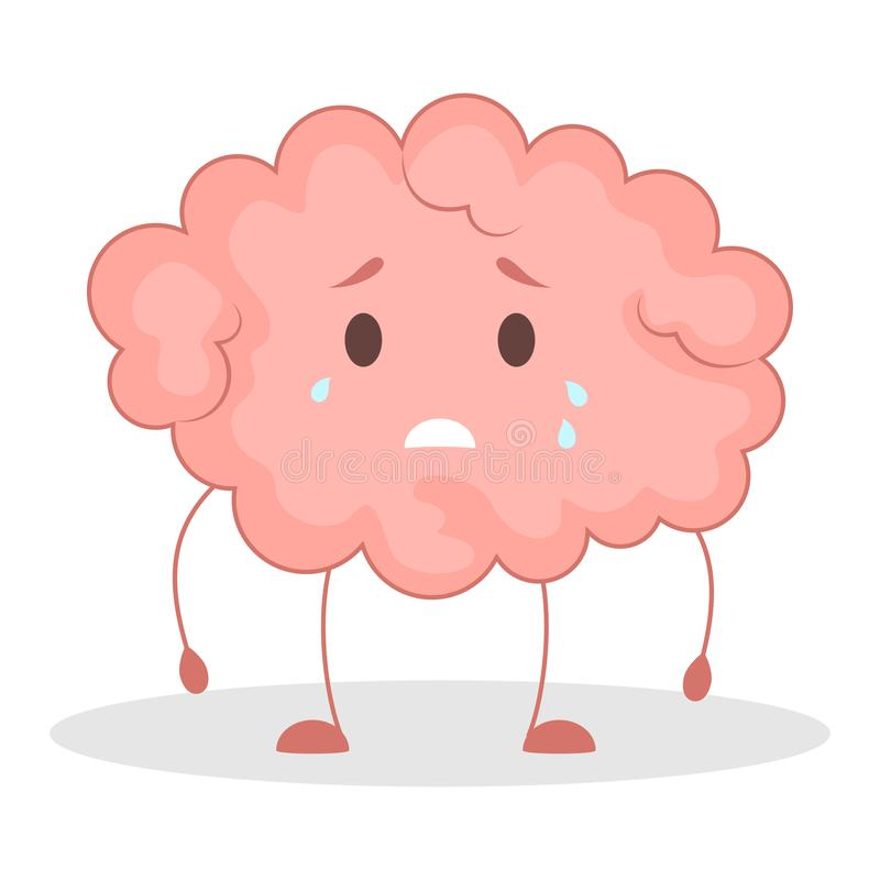 Pink brain character, sad sticker. Cute funny human organ. Pink brain character , sad sticker. Cute funny human organ. Bright comic element. Isolated vector stock illustration