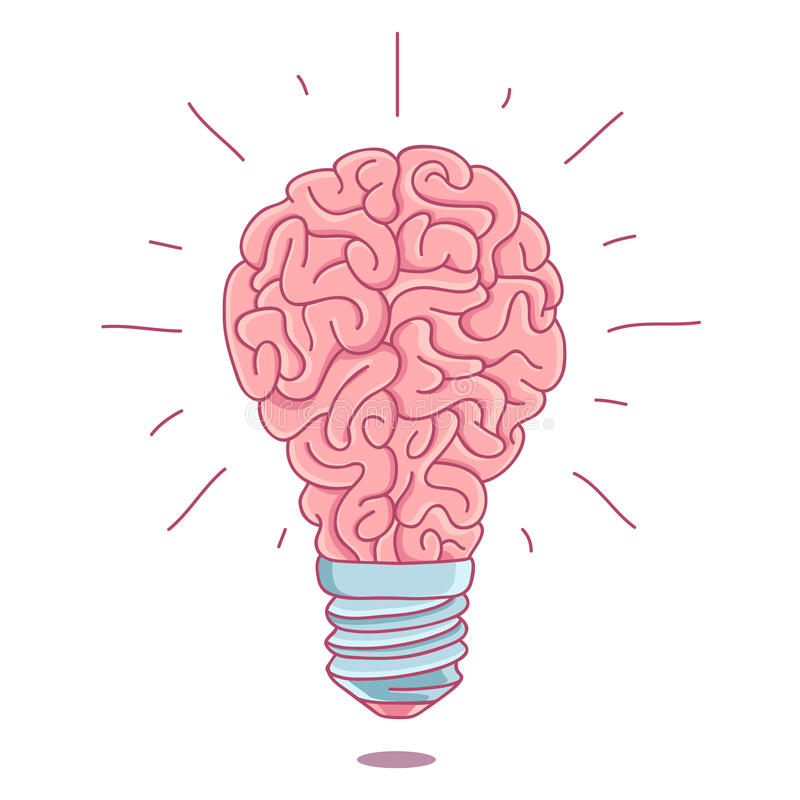 Download pink brain in the form of a burning light bulb stock vector illustration of
