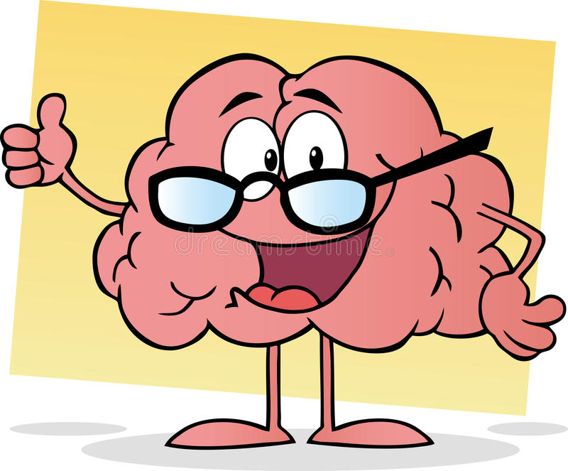 Pink brain wearing glasses and holding a thumb up vector illustration