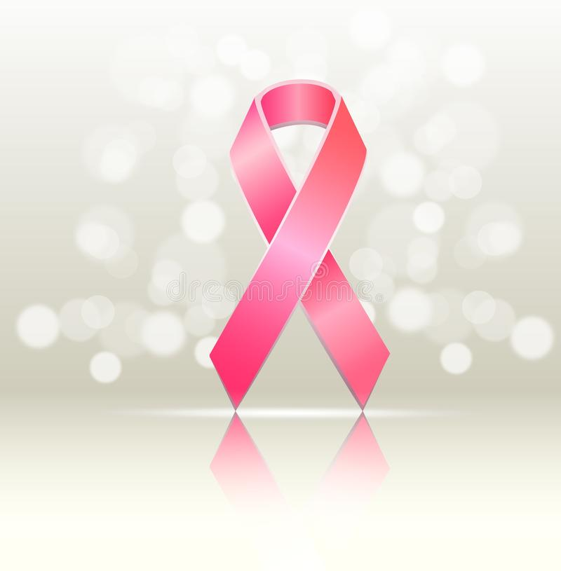 Pink breast cancer awareness ribbon. On a grey background with reflection and glow stock illustration