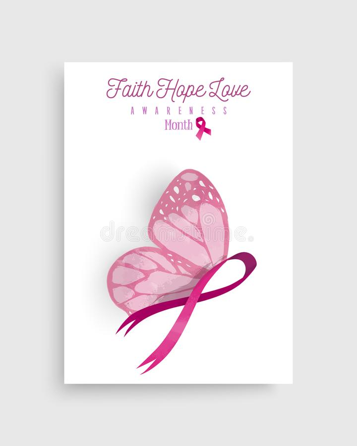 Free Pink Breast Cancer Butterfly Ribbon Art Poster Royalty Free Stock Photo - 99826825