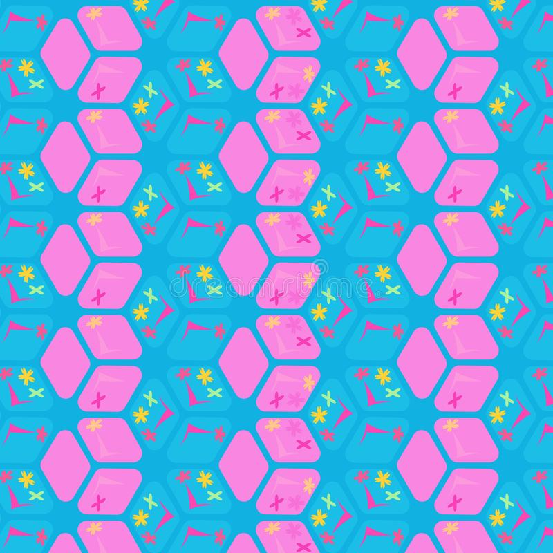 Pink and bright blue repeating pattern. Colorful cool geometric repeating pattern in pink and blue with rhombuses, florals and 3D effect. fresh surface design royalty free illustration