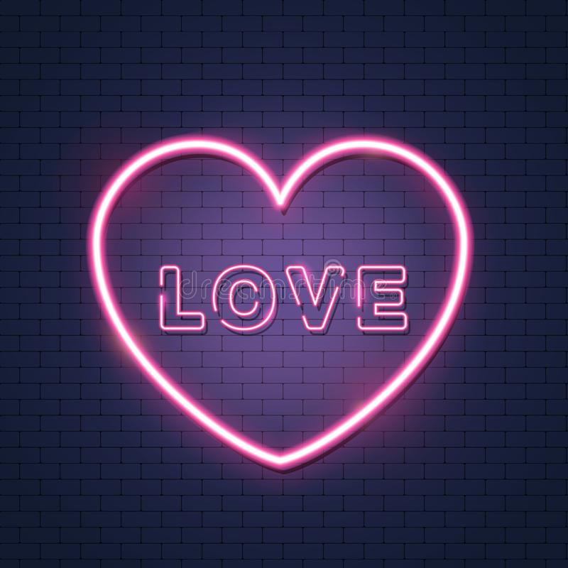 Pink bright vector heart with inscription love, vector neon sign on brick wall. Isolated design element for Valentine`s day. Pink bright vector heart with royalty free illustration