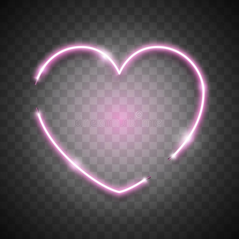 Pink Bright Vector Neon Heart on Transparent Background, Vector Neon Sign. Isolated Design Element for Valentine`s day. Pink Bright Vector Neon Heart on vector illustration
