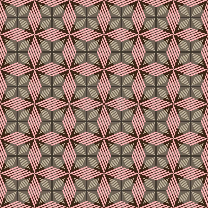 Pink, brown and grey geometric seamless pattern with striped rhombuses stock photo