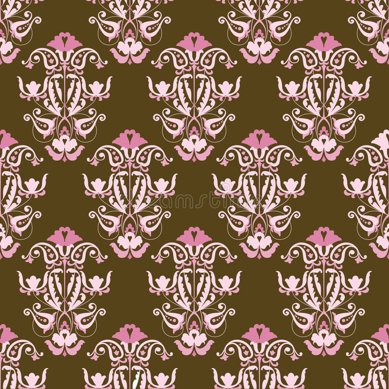 Pink and brown seamless vector wallpaper stock illustration