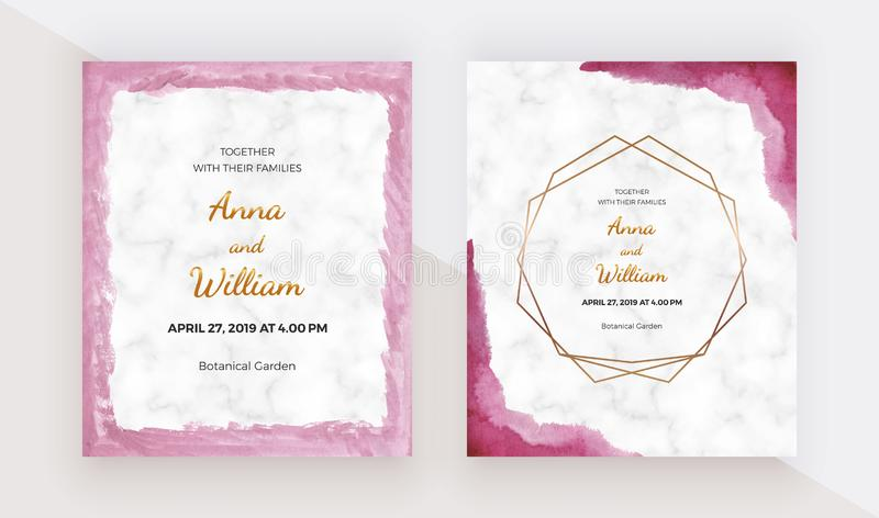 Pink brush stroke border watercolor texture with golden polygonal lines frames on the marble texture. Modern hand painting templat. E for wedding invitation royalty free illustration