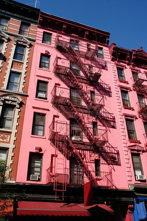 Download Pink building in SoHo, NYC stock image. Image of balcony - 5569447