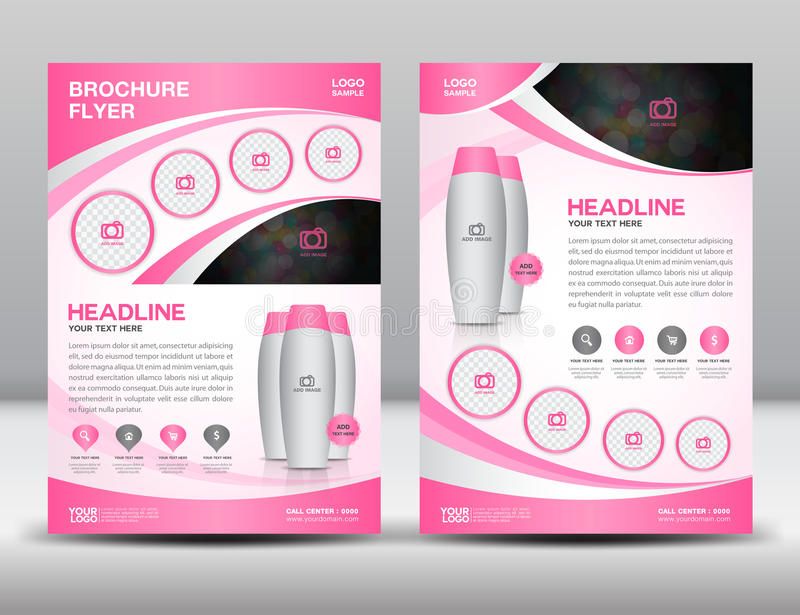 Pink business brochure flyer design layout template in A4 size. Magzine ads royalty free illustration